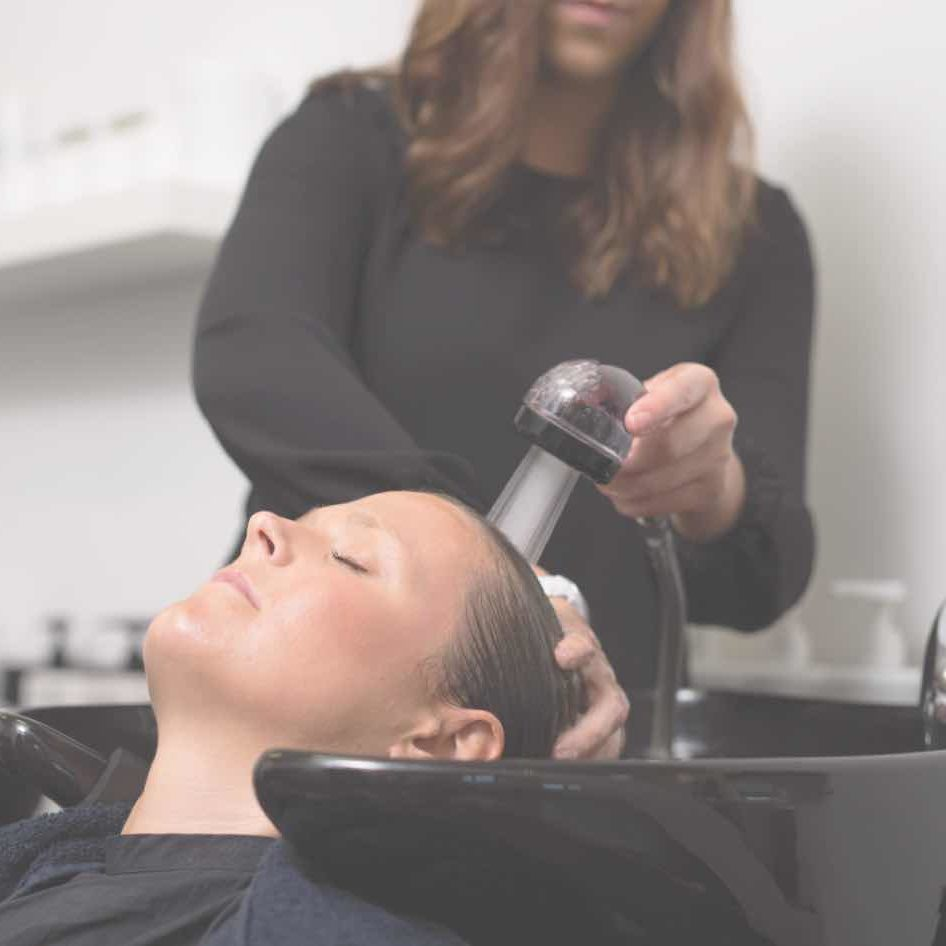 Stylist washing a clients hair